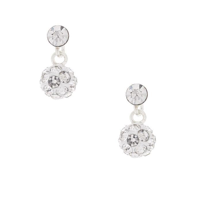 Sterling Silver Fireball Drop Earrings,