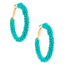 Gold 50MM Beaded Hoop Earrings - Turquoise,