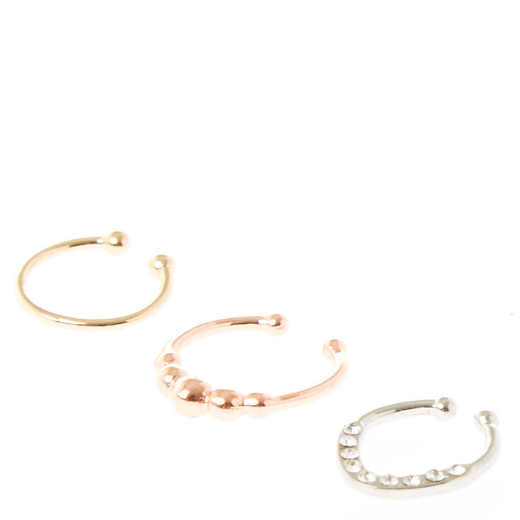 Mixed Metal Faux Nose Ring Hoops,