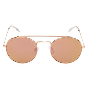 Rose Gold-Tone Round Aviator Sunglasses,