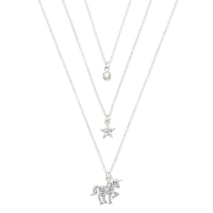 Silver Glitter Unicorn Pendant Necklaces - 3 Pack,