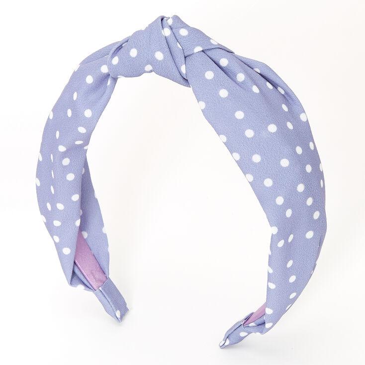 Polka Dot Knotted Headband - Blue,