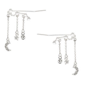 "Silver 1"" Constellation Ear Crawler Earrings,"