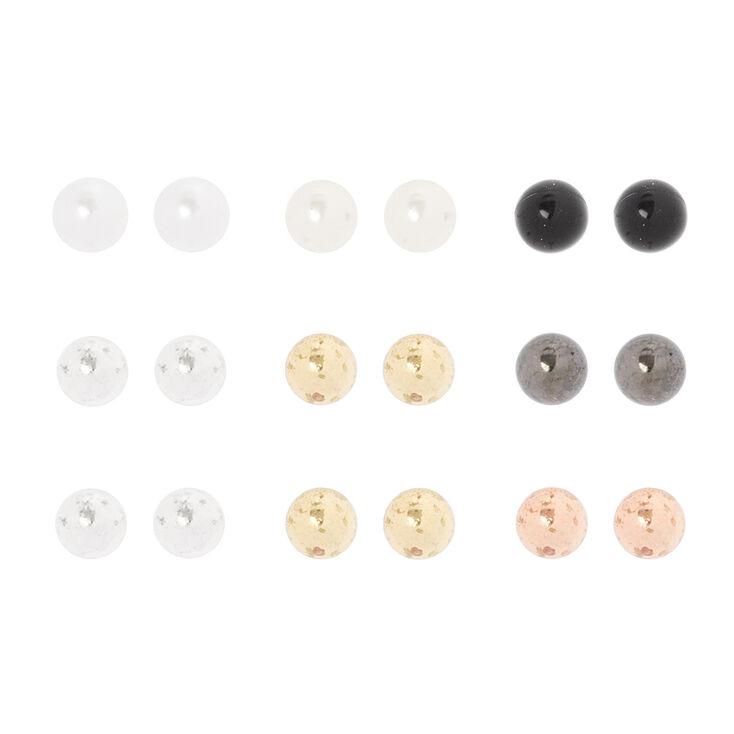 4MM Pearl & Mixed Metal Ball Stud Earrings Set of 9,