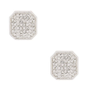 Silver Rhinestone Octagon Stud Earrings,