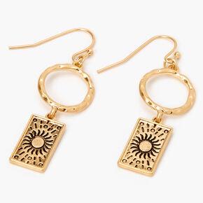 """Gold 1.5"""" Sun Circle Drop Earrings,"""