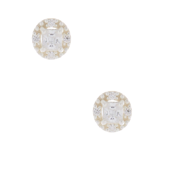 Sterling Silver Cubic Zirconia 3MM Square Halo Earrings,