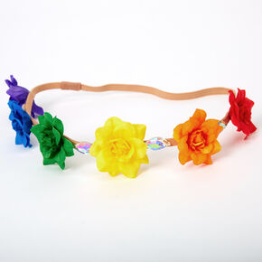 Rainbow Flower Crown Headwrap,