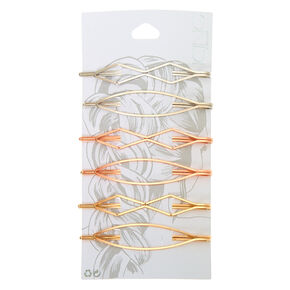 Mixed Metal Geometric Hair Pins - 6 Pack,