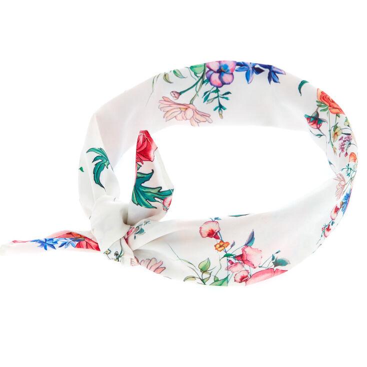 Rose Tie Bandana Headwrap - White,
