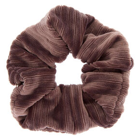 Ribbed Velvet Hair Scrunchie - Dove Gray,