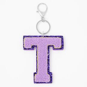 Purple Varsity Initial Keychain - T,