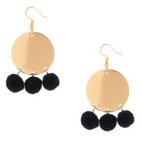 "Pom 2"" Disc Drop Earrings - Black,"