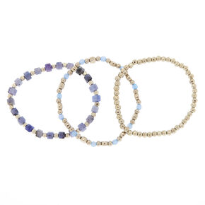 Silver Stone Stretch Bracelets - Blue, 3 Pack,