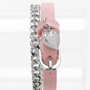 Buckle Strap & Chain Link Wrap Bracelet - Pink,
