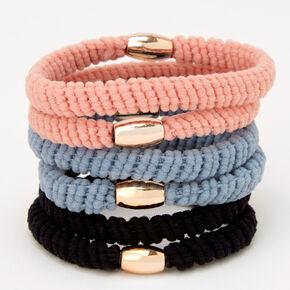 Gold Bead Twist Hair Ties - 6 Pack,