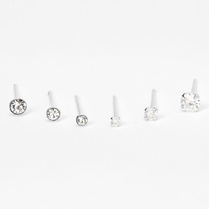 Sterling Silver 22G Mixed Stone Nose Rings - 6 Pack,