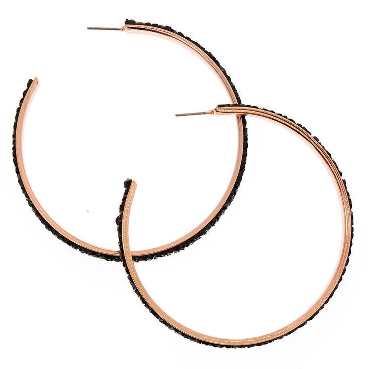 60MM Gold Tone & Black Pavè Hoop Earrings,