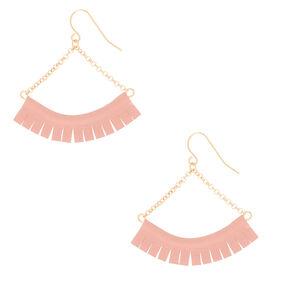 """Gold 1.5"""" Fringe Drop Earrings - Pink,"""