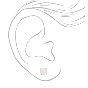 Gold 10MM Stud Earrings - White,