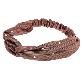 Metallic Twist Stone Headwrap - Rose Gold,