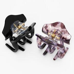 Marble Mini Hair Claws - Black, 2 Pack,