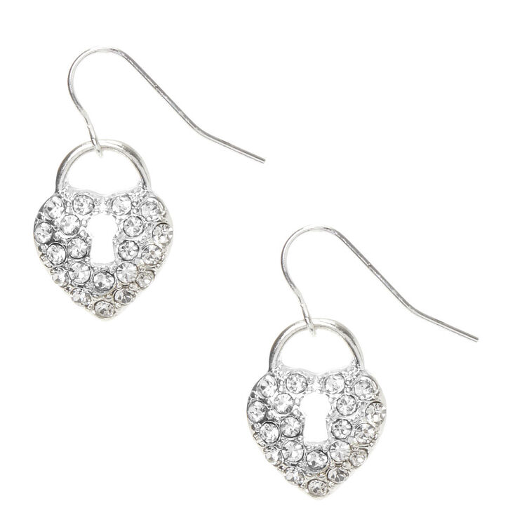 "Silver 1"" Crystal Lock Drop Earrings,"