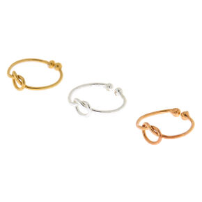 Mixed Metal Sterling Silver Knot Faux Nose Rings - 3 Pack,