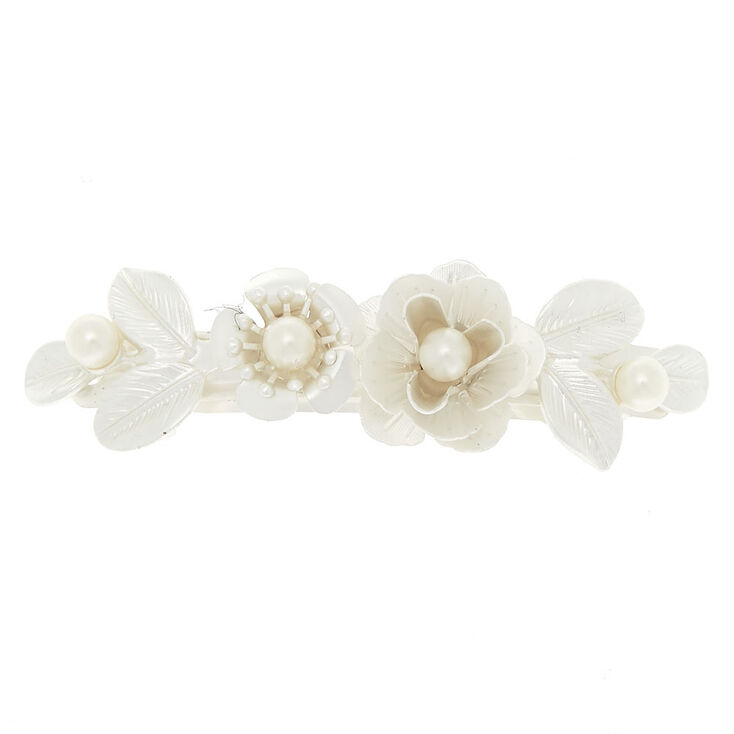 Pearlized Metal Roses Hair Barrette - Ivory,
