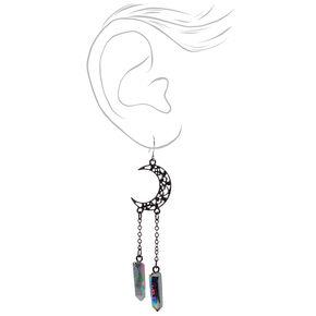 """Black 3"""" Celestial Moon Stone Drop Earrings,"""