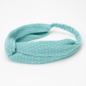 Polka Dot Pleated Knotted Headwrap - Mint,