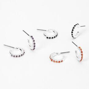 Silver Halloween Stone Huggie Hoop Earrings - 3 Pack,