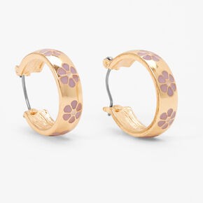 Gold 20MM Thick Daisy Hoop Earrings - Purple,