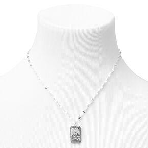 Silver Moon Tarot Rectangle Pendant Necklace,