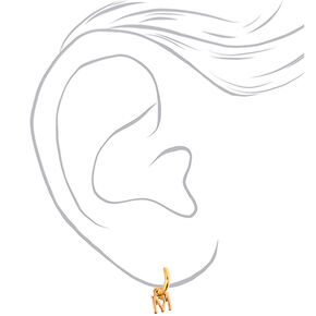 Gold 10MM Initial Huggie Hoop Earrings - M,