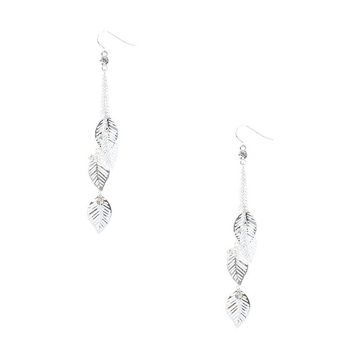 Silver Tone Falling Leaves Chain Drop Earrings,