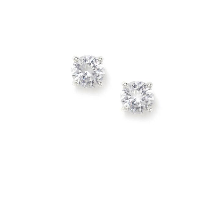 4MM Cubic Zirconia Parallel Set Stud Earrings,