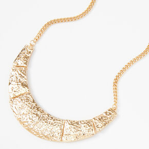 Gold Hammered Movement Collar Statement Necklace,