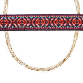 Tapestry Design Multi-Strand Choker Necklace,