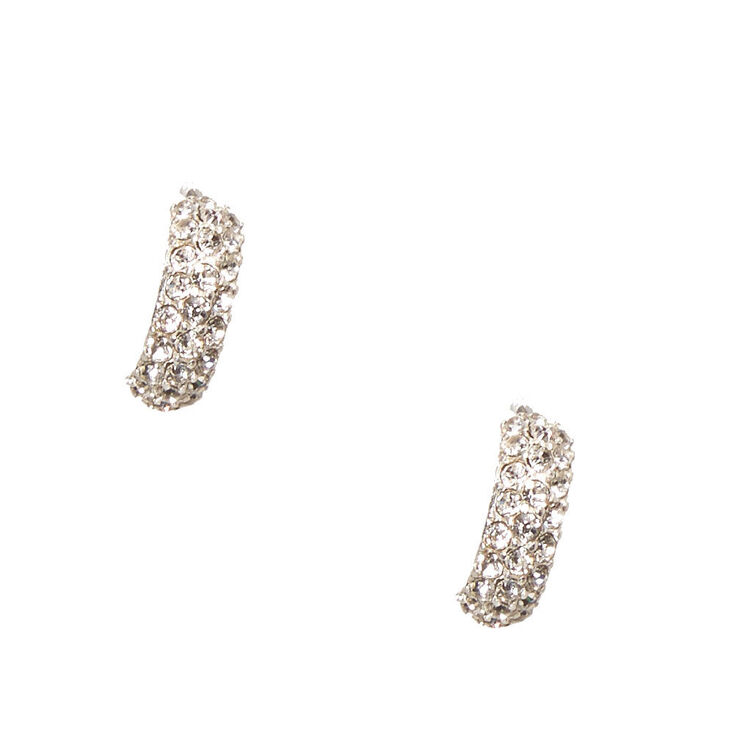 Crystal Studded Silver Tone Half Hoop Earrings,