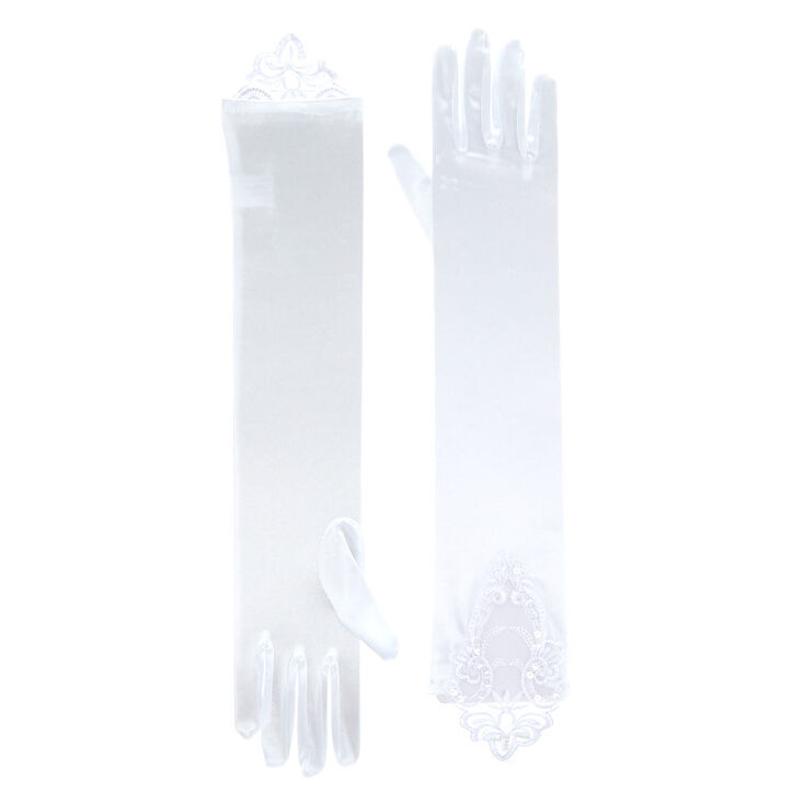Long Lace Gloves - White,