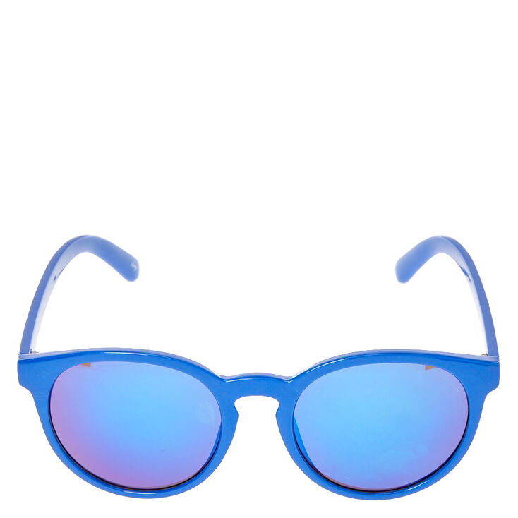 Blue Cat Eye Mirrored Sunglasses,