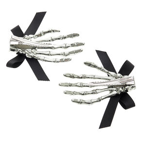 Skeleton Bow Hair Clips - Silver, 2 Pack,