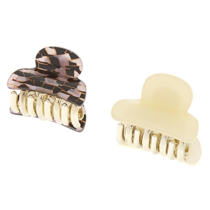 Pink & Black Tile Mini Hair Claws,