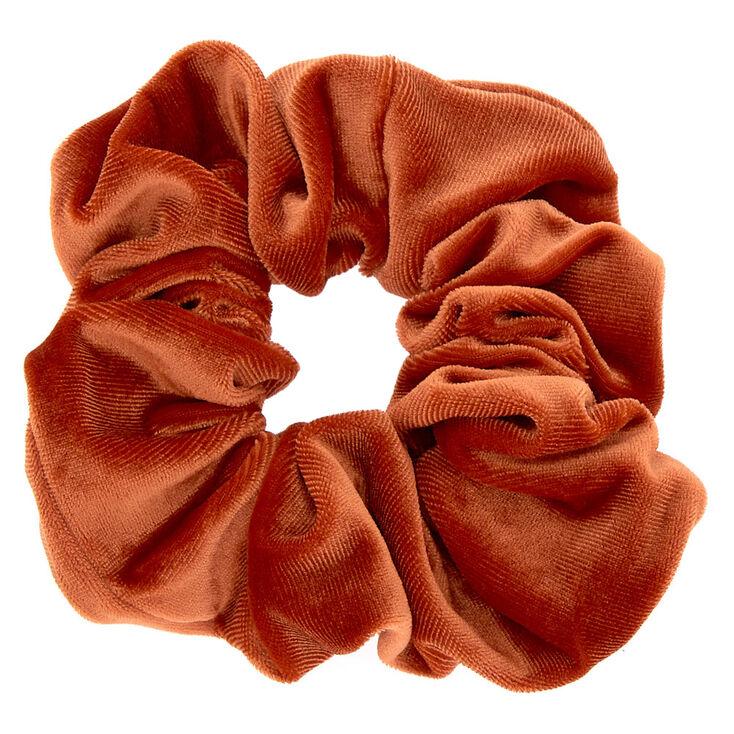Oversized Velvet Hair Scrunchie - Copper Orange,