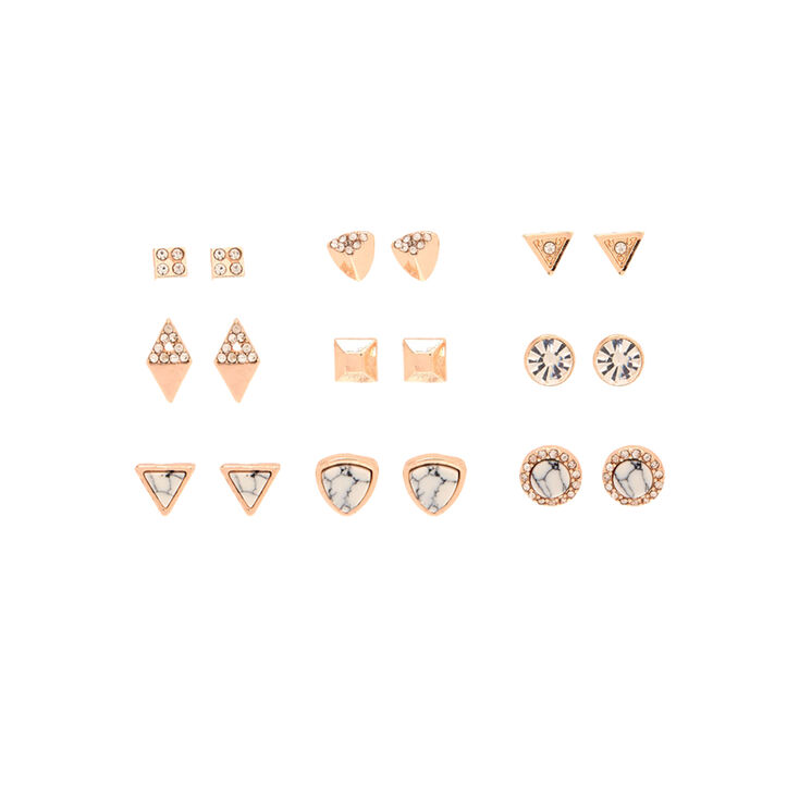 9 Pack Rose Gold-Tone & Marbled Stud Earrings
