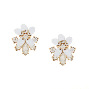 Gold Sequin Flower & Glass Rhinestone Stud Earrings,