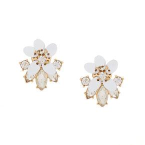 Gold Sequin Flower & Glass Rhinestone Stud Earrings,