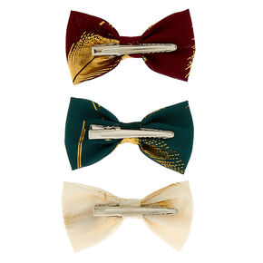 Metallic Leaf Mini Hair Bow Clips - 3 Pack,