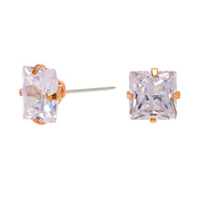 Rose Gold Cubic Zirconia Square Stud Earrings - 7MM,